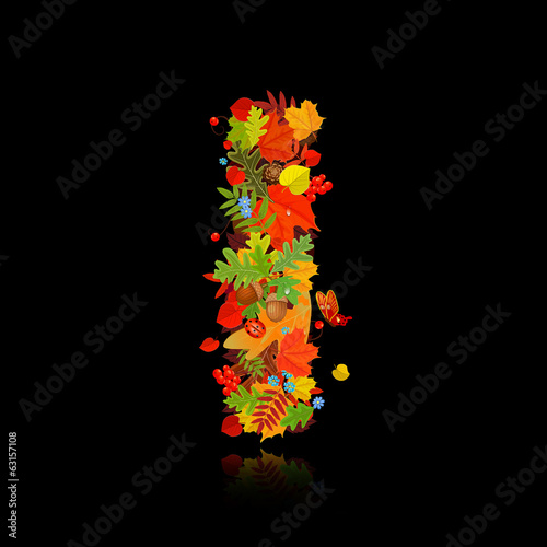 Beautiful autumn leaves. letter i