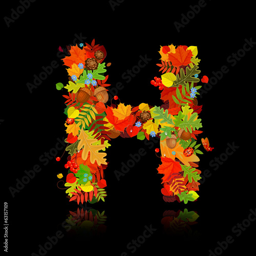 Beautiful autumn leaves. letter h