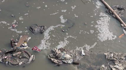 catastrophic water pollution in asia Katmandu, Nepal.