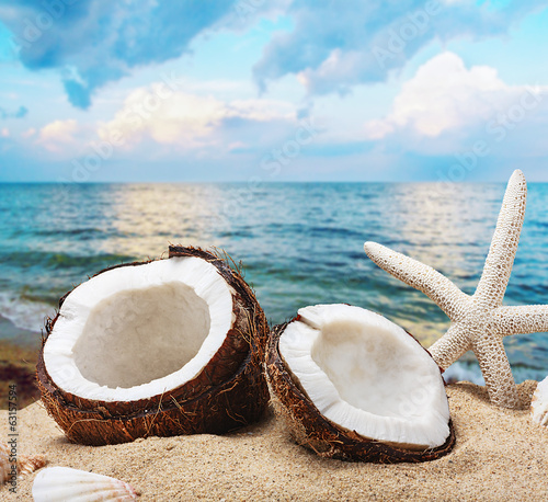 chopped coconut on sea-beach