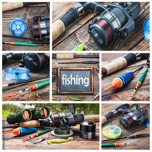 Set of images of fishing