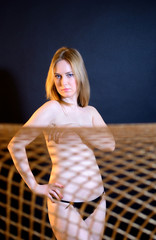 Girl wrapped in a studio network