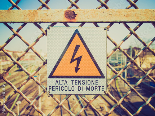 Retro look Electric shock sign
