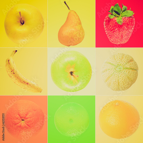 Retro look Fruit collage
