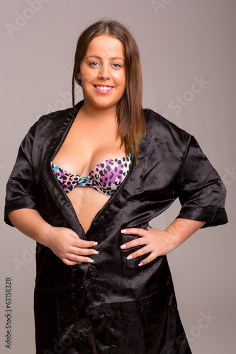 Large woman in lingerie