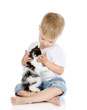 little boy hugging kitten. isolated on white background