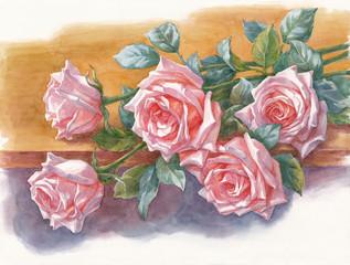 """Розы на столе, акварель из серии """"Цветы""""."""