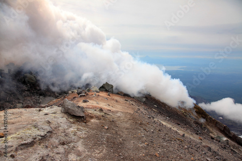 Fumarole on the top Avachinskiy volcano.
