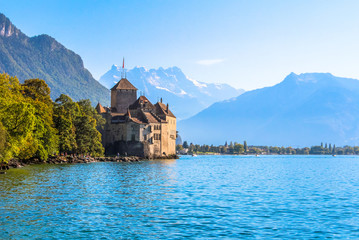 Montreux. Chillon Castle located on the shores of Lake Geneva