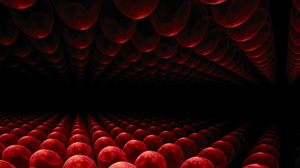 red orbs horizon, perspective view, animation, seamless loop