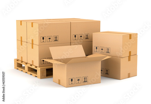 Cardboard boxes and wooden pallet