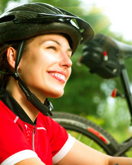 Young Woman Riding Bicycle Outside. Healthy Lifestyle