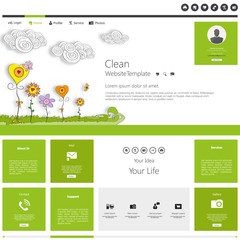 Green eco beauty website template website