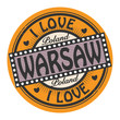 Grunge color stamp with text I Love Warsaw inside