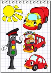 Set of transportation with traffic lights