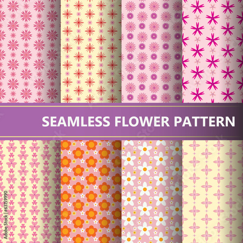 set of vector abstract flower pattern