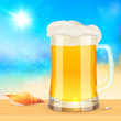 Summer mug of fresh beer on seascape background