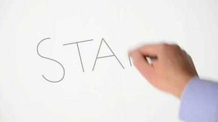 hand writw start text