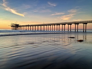 Sunset at Scripps Pier, La Jolla, San Diego, California, USA