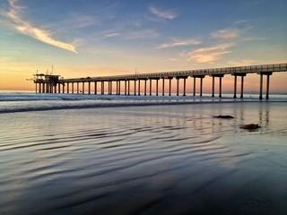 Sunset at Scripps Pier, La Jolla, San Diego, California, USA