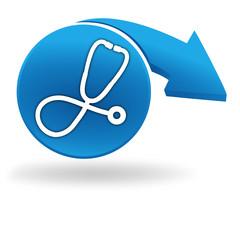 médical sur bouton bleu