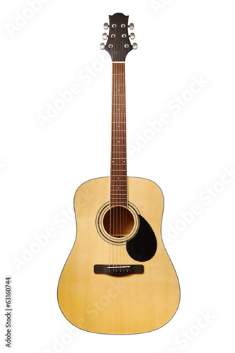 Acoustic guitar isolated on white, clipping paths