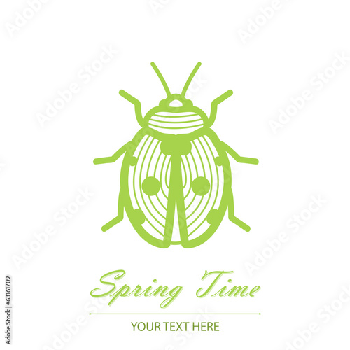 Spring card with an unusual beetle