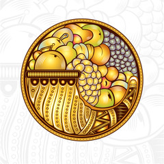 cornucopia or horn of plenty engraving background