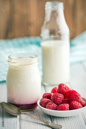 fruity yogurt in jar