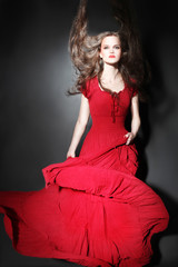 Fashion woman in red dress