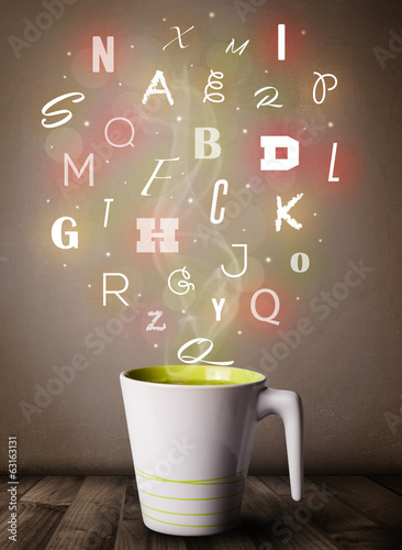 Coffee cup with colorful letters