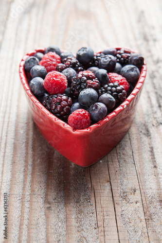 Heart of red fruit.