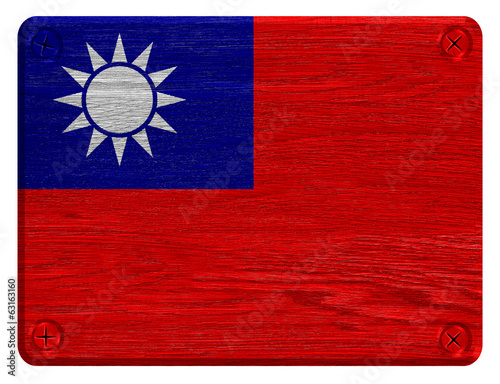 Taiwan, Republic of China flag painted on wooden tag