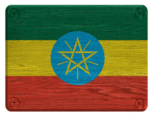 Ethiopia flag painted on wooden tag