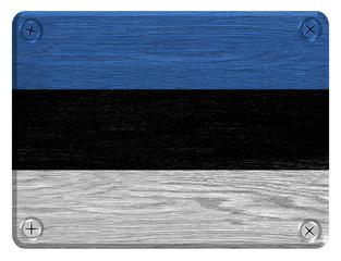 Estonia flag painted on wooden tag
