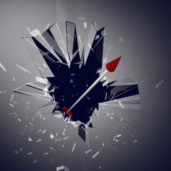 窓を突き破る矢