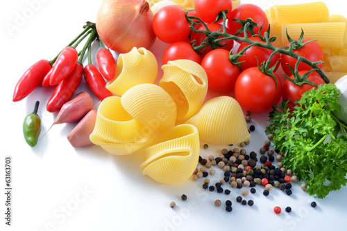 Italian pasta and ingredients