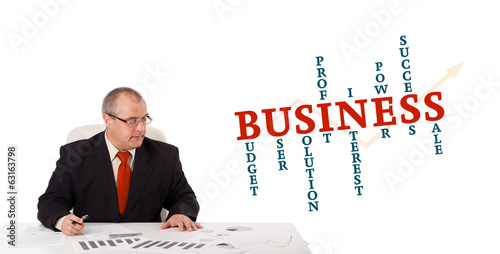 Leinwandbild Motiv businessman sitting at desk with word cloud