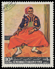 Stamp printed by Yemen, shows The Zouave by Van Gogh