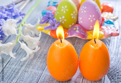 easter eggs and candle