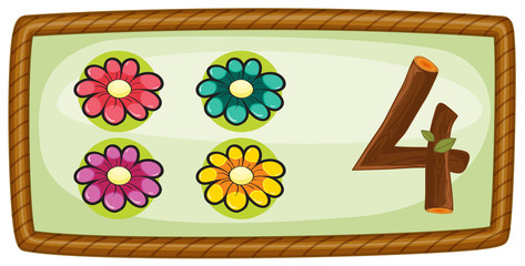 A frame with four flowers
