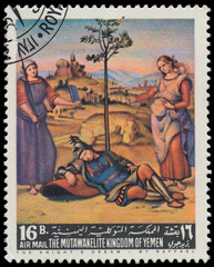 Stamp printed by Yemen, shows The Knight's Dream by Raffael