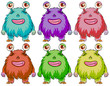 Six colourful monsters
