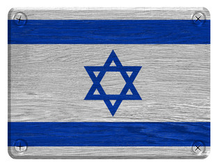 Israel flag painted on wooden tag