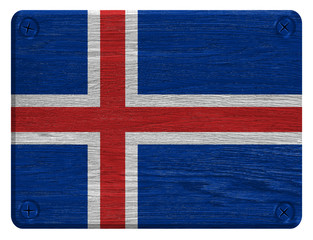 Iceland flag painted on wooden tag