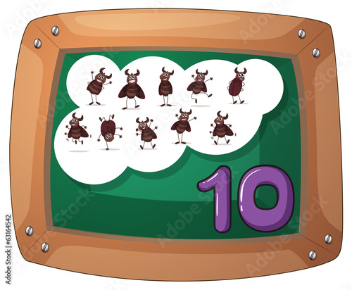 A blackboard with ten cockroaches
