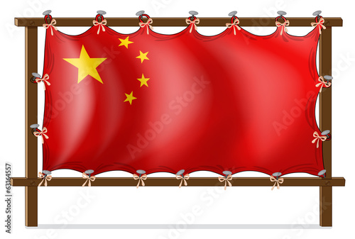 A wooden frame with the Chinese flag