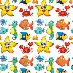 Seamless design with sea creatures