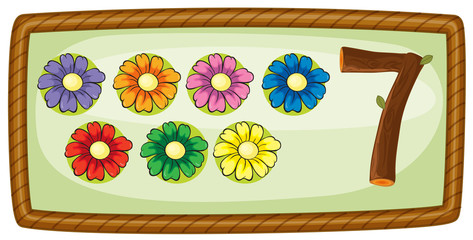 A frame with seven flowers