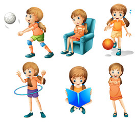 Different activities of a young lady